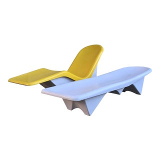 1960s Mid Century Modern Yellow and White Fiberglass Pool Chairs - a Pair