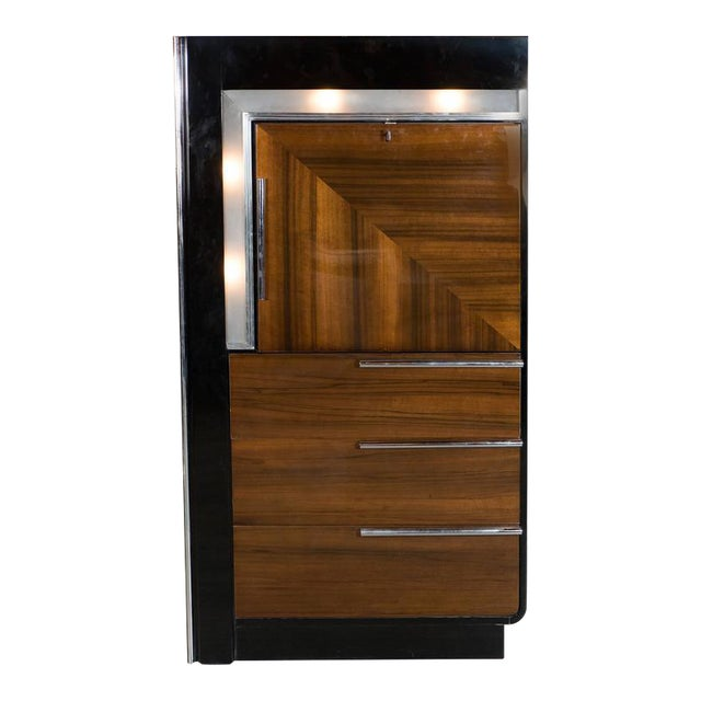 Art Deco Bar Cabinet in Walnut and Black Lacquer For Sale