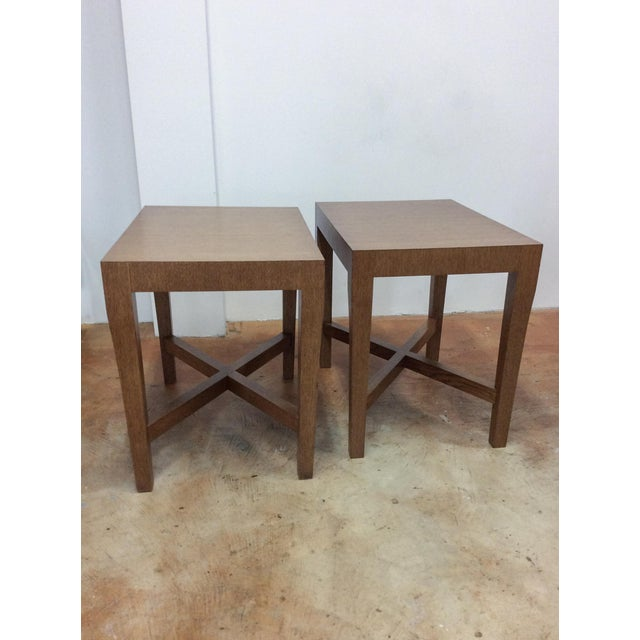 Pair of large solidly built side tables. Wood with veneered zebra/tiger style wood grain. Heavy and high quality. Simple...