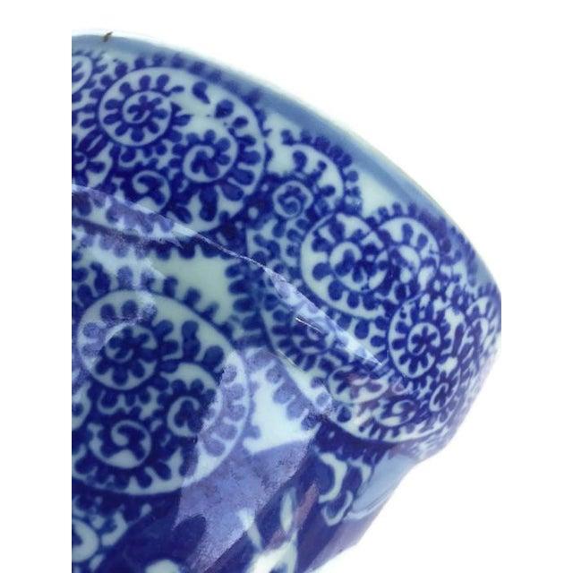 Vintage Cobalt Blue Porcelain Chinoiserie Planters - A Pair - Image 6 of 7