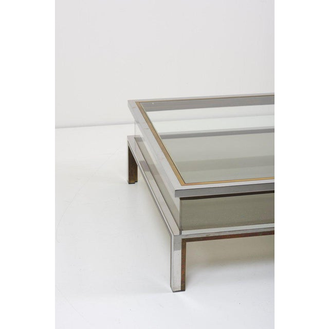 Metal Maison Jansen Sliding Top Coffee Table in Brass and Chrome For Sale - Image 7 of 9