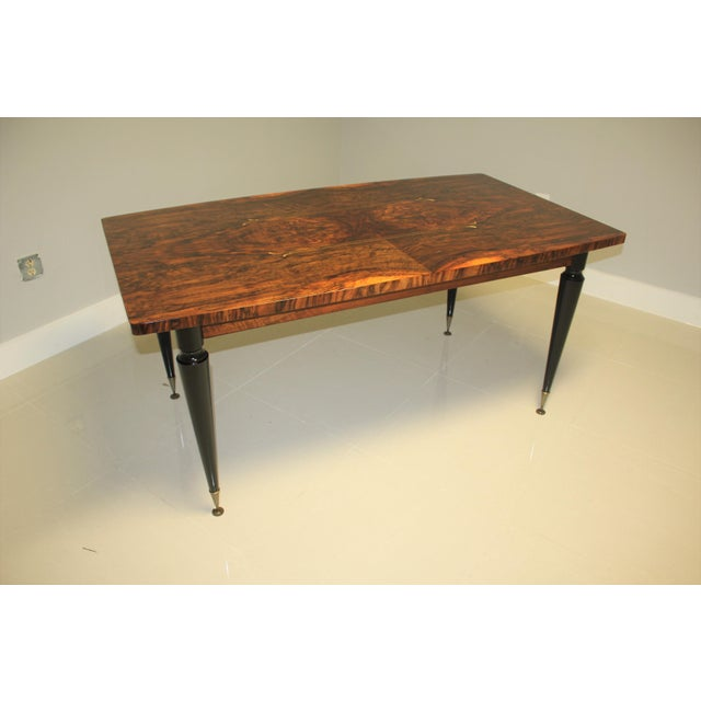 1940s French Art Deco Exotic Burl Walnut Writing Desk / Dining Table For Sale - Image 4 of 13