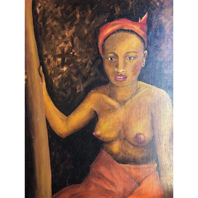Lovely painted topless painting in a red wooden frame. The piece was made in the 1970s.