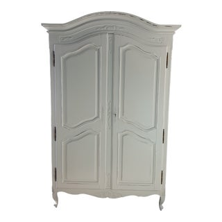 1970s French Painted and Distressed Armoire For Sale