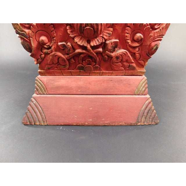 Antique Asian Temple Carved Wooden Sculpture - Image 11 of 11