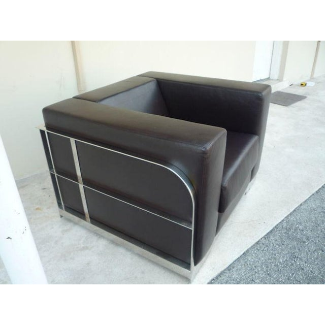 1990s 1990s Vintage Architectural Chrome & Leather Cube Chair For Sale - Image 5 of 9