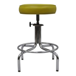 Inter Royal Corp Vintage Industrial Chrome Metal Work Shop Stool
