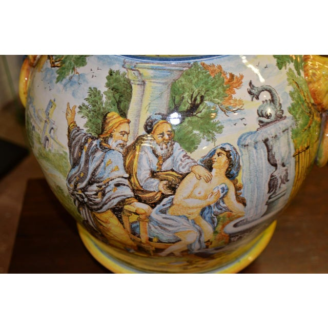Ceramic Mid 20th Century Hand Painted Portuguese Jardiniere C.1950 For Sale - Image 7 of 10