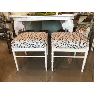 Vintage Palm Beach White Lacquered Faux Bamboo Upholstered Stools Benches Ottomans -A Pair Preview