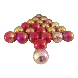 Vintage Rainbow Mercury Glass Ornaments - Set of 23 For Sale
