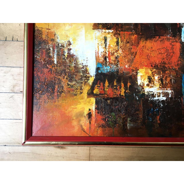 Mid Century Modern Oil on Canvas Cityscape by Edward Barton For Sale - Image 4 of 9