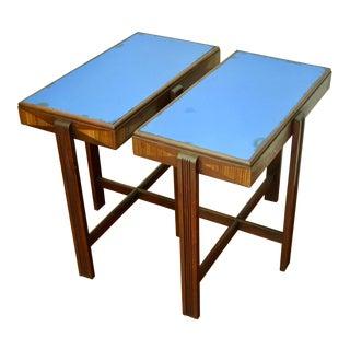Art Deco Cobalt Glass Nightstands / Side Tables - A Pair