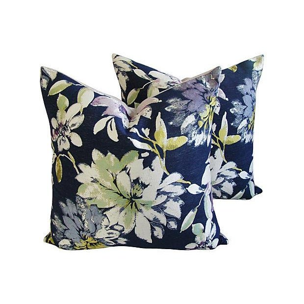 Custom French Floral Silk & Linen Pillows - A Pair - Image 1 of 7