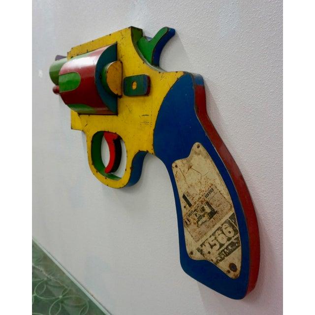"Brutalist ""Dan White"" Gun Wall Sculpture by David Buckingham For Sale - Image 3 of 8"