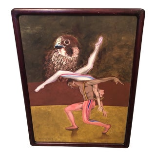 """1990s """"Dancers with Hawk"""" Surrealist Style Figurative Painting, Framed For Sale"""
