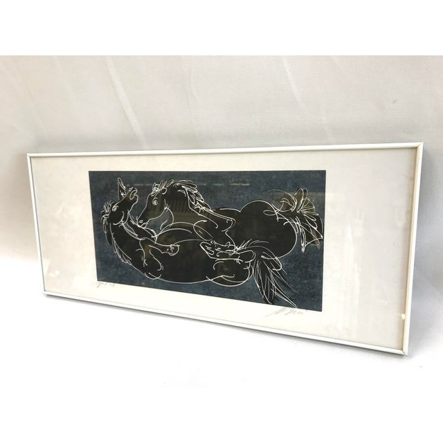 Abstract Framed Relief Print of Two Black Horses For Sale In Los Angeles - Image 6 of 6