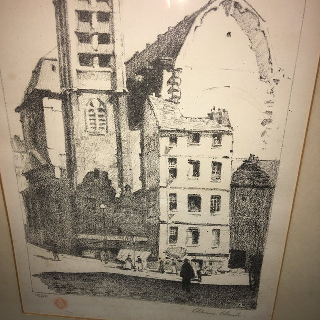 Early 20th Century Early 20th Century Antique European Town Scene Lithograph Print For Sale - Image 5 of 7