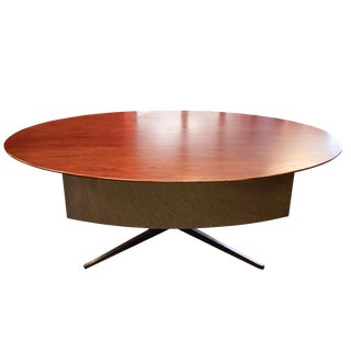Vintage Mid-Century Modern Florence Knoll Dark Walnut Conference Dining Table For Sale