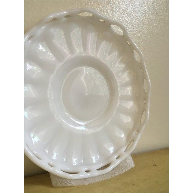 Lattice Milk Glass Large Serving Tray, Mid Century - Image 6 of 8