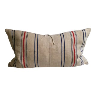 CB2 Green Feed Sack Pillow With Linen Back
