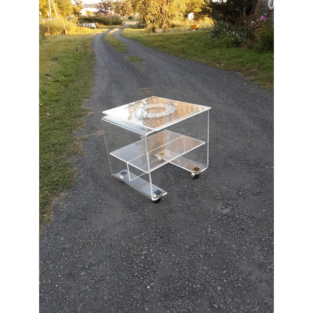 1970's Vintage Lucite Bar Cart For Sale - Image 10 of 11