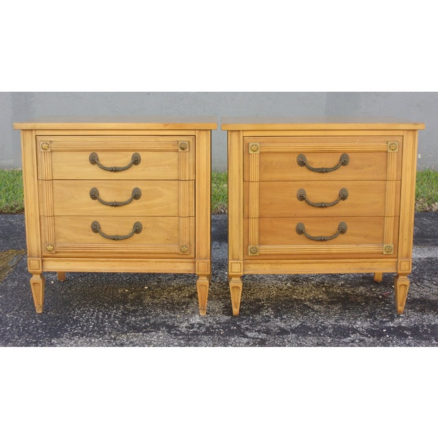 Mid-Century Three-Drawer Commodes - A Pair - Image 4 of 8