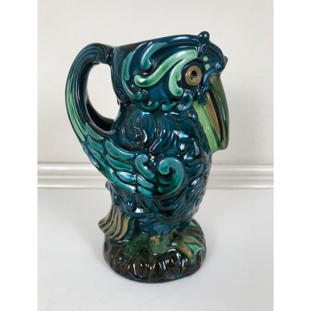 Longpark English Art Pottery Bird Pitcher For Sale - Image 9 of 13
