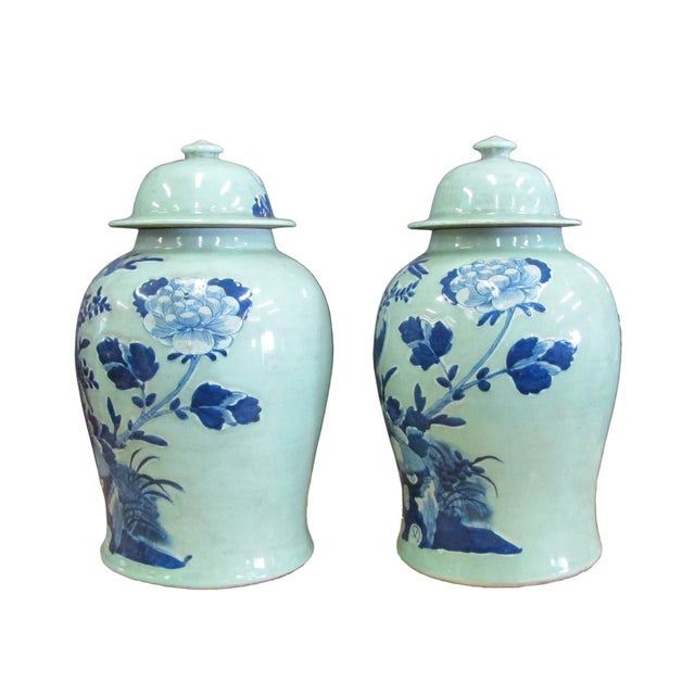Chinese Blue Porcelain Temple Jars - A Pair - Image 2 of 4