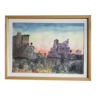 Mid-Century Watercolor Painting of Nyc Cityscape Upper West Side For Sale