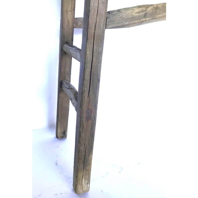 Rustic Elm Wood Console / Altar Table With Curved Stretchers For Sale In Los Angeles - Image 6 of 7