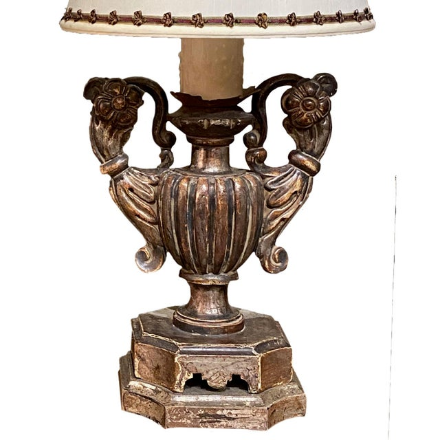19th Century Silver Gilt Pick Candlesticks as Lamps - a Pair For Sale - Image 5 of 6