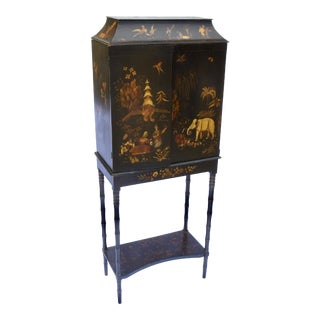 19th C. English Chinoiserie Cabinet For Sale