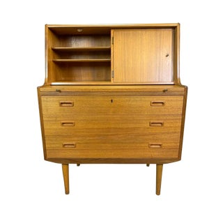 Vintage Mid Century Scandinavian Modern Teak Secretary Desk For Sale