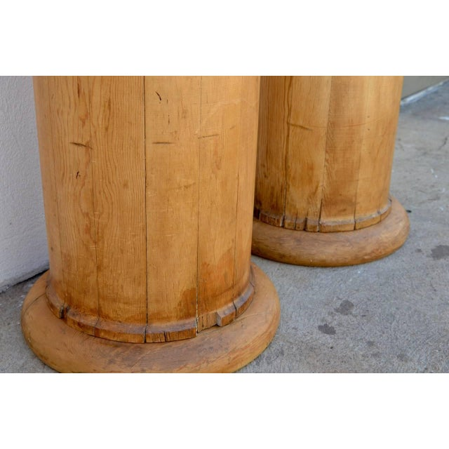 1930s Elegant Tall Fluted Decorative Pine Columns - a Pair For Sale In Los Angeles - Image 6 of 7