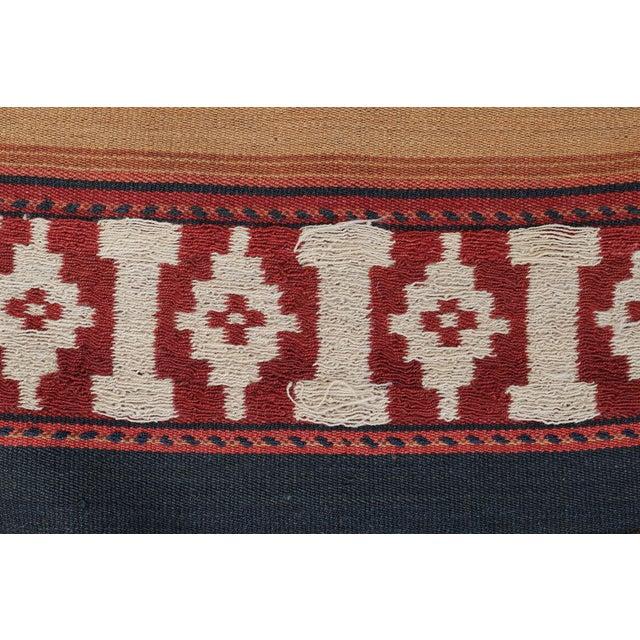 """Vintage Afghan Tribal Striped Flat-Weave Wool Rug - 4'7"""" X 9'5"""" - Image 3 of 4"""