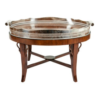 Mid-20th Century Plated High Gallery / Wood Interior Tray Table For Sale
