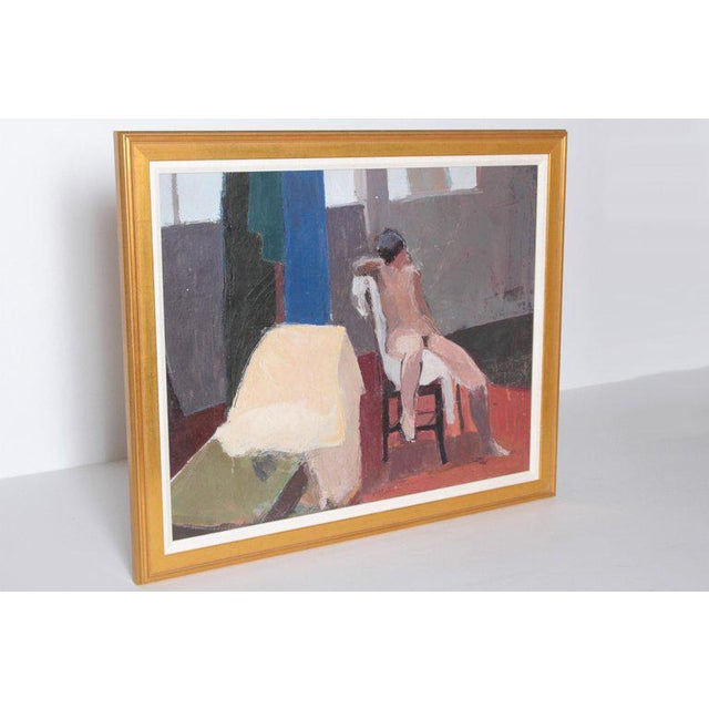 A contemporary oil on canvas of a nude in an interior seated on a chair in front of a wall with windows. Overall muted...