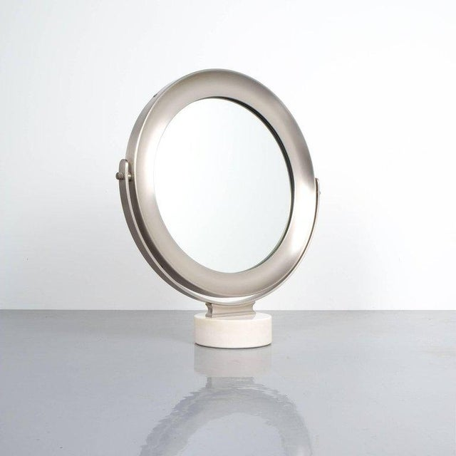 Sergio Mazza swivel marble table mirror, Italy, 1960, modern swivel table mirror with white marble base and brushed...
