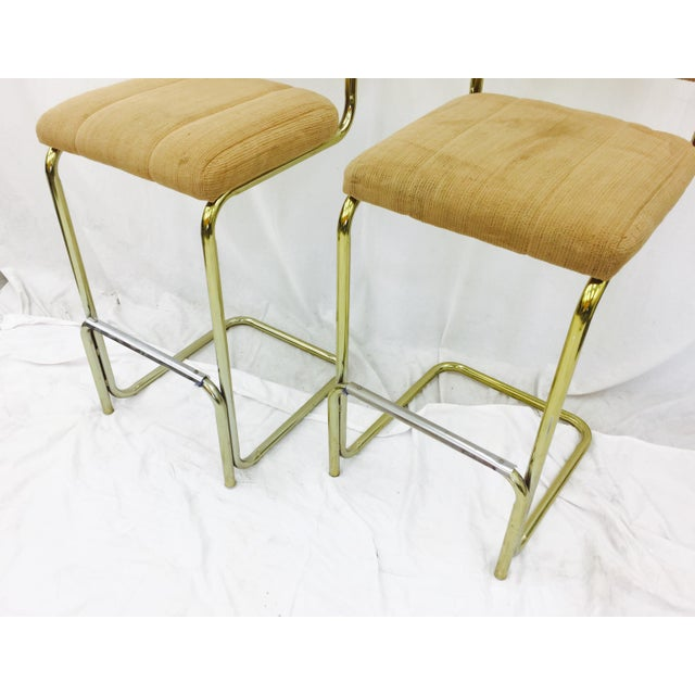 Milo Baughman Vintage Mid-Century Modern Bar Stools - A Pair For Sale - Image 4 of 7