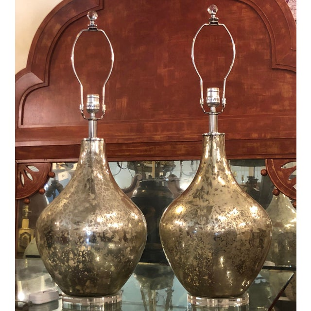 Randy Esada Designs for Prospr Etched Mercury Glass Table Lamps by Randy Esada Designs - a Pair For Sale - Image 4 of 5
