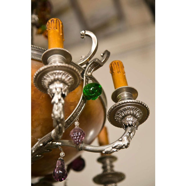 French Art Nouveau Style 8-Light Chandelier For Sale - Image 9 of 11
