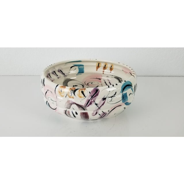 Available for sale this artistic hand-painted ceramic glazed decorative Bowl. Lovely & colorful with abstract design....