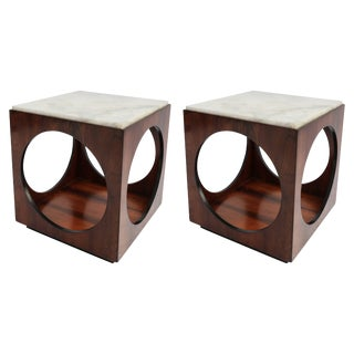 Pair of Novo Rumo Brazilian 1960s Jacaranda Side Tables For Sale