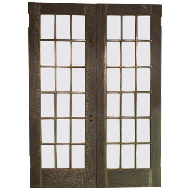 Industrial Tall Brushed Steel and Glass Doors For Sale - Image 12 of 12