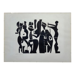 Edgar Ewing -Greek Wedding in Rome 1969-Modernist Cubist Painting For Sale