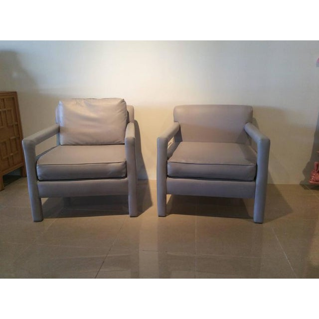 Animal Skin Vintage Milo Baughman Style Parsons Grey Leather Arm Chairs - A Pair For Sale - Image 7 of 12