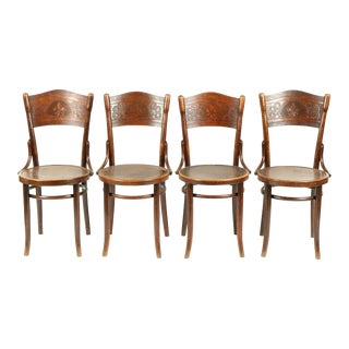 Art Nouveau Bentwood Thonet Bistro Chairs/4 For Sale