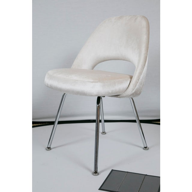 Saarinen Executive Armless Velvet Chairs - S/6 - Image 7 of 10