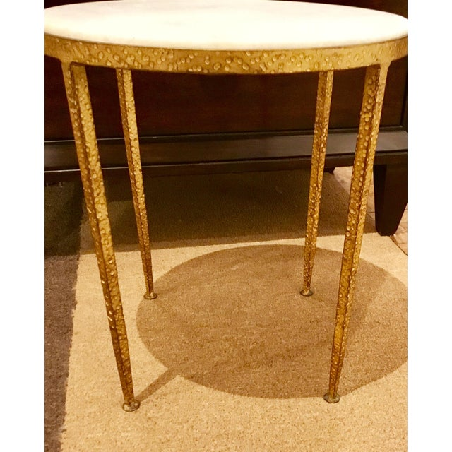 Modern Arteriors Round Hammered Metal Table For Sale - Image 3 of 6