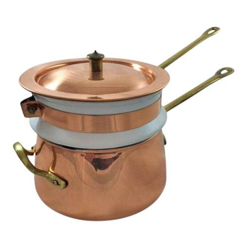 Taurus Vintage Copper, Brass & Porcelain Double Boiler For Sale